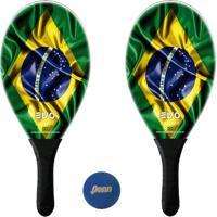 Kit Raquetes Frescobol Evo Fibra Vidro Brasil Com Bola Penn
