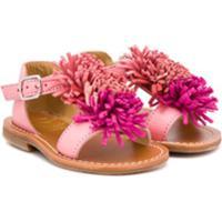 Gallucci Kids Sandália Floral Com Franjas - Rosa