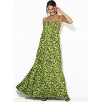 Vestido Longo De Viscose Estampado Verde