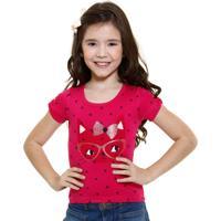 Blusa Infantil Estampa De Gatinha Abrange