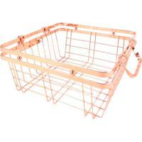 Cesta Organizadora Metal Cobre 25X25X11Cm - 30184