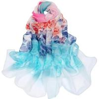 Echarpe Lenço Estampado Flores Multicolor Feminino - Feminino-Rosa