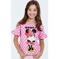 Blusa Infantil Manga Curta Babado Bolinhas Minnie Disney