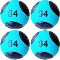 Kit 4 Medicine Ball Liveup Pro B 4 Kg Bola De Peso Treino Funcional - Unissex