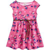 Vestido Floral Com Amarração - Rosa & Azul- Kids