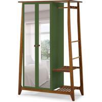 Guarda-Roupa Solteiro Stoka Com Espelho 2 Pt Nogal E Verde Musgo