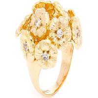 Anel Buquê De Flores Semijoia Banho De Ouro 18K Com Cravação De Zircônias