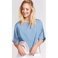 Blusa Em Seda Com Bordados - Azul & Brancapop Up