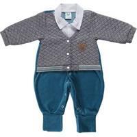 Macacão Infantil Para Bebê Menino - Cinza/Verde