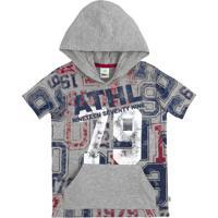 Camiseta Infantil Menino Em Malha De Algodão Com Capuz E Bolso Canguru Puc