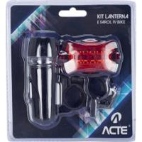 Kit Com Lanterna E Farol Para Bike Acte Sports - Preto/Vermelho