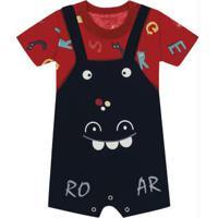 Conjunto Camiseta Com Jardineira Baby Vermelho