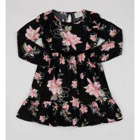 Vestido Infantil Estampada Floral Manga Longa Preta
