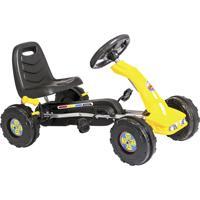 Carrinho Mini Kart Infantil Unitoys Com Pedal Amarelo