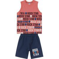 "Conjunto De Regata ""Rock Star"" + Bermuda- Coral & Azul Mrovitex"