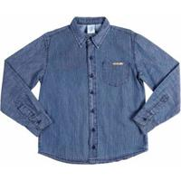 d79d9c2569 Camisa Jeans Manga Longa Juvenil Para Menino - Azul
