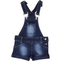 Macacão Jeans Deby Para Menina Azul