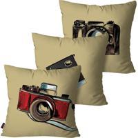Kit Com 3 Almofadas Decorativas Bege Câmeras Fotográficas 45X45Cm