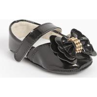 Sapato Boneca Com Laço & Strass - Preto - Ticco Babytico Baby