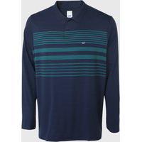 Camisa Polo Malwee Reta Listras Azul-Marinho/Verde