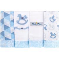 Kit 4 Fraldas De Boca Minasrey Muito Mimo 100% Algodão Azul