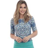 Blusa Ficalinda Meia Manga Proteção Uv Fashion 50+ Feminina - Feminino-Azul