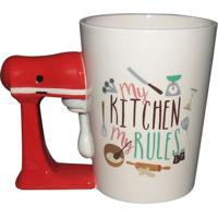 Caneca Kitchen- Branca & Vermelha- 360Ml- Full Ffull Fit