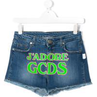 Gcds Kids Teen Denim J'Adore Print Shorts - Azul