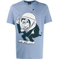 Ps Paul Smith Camiseta Decote Careca Space Monkey - Azul