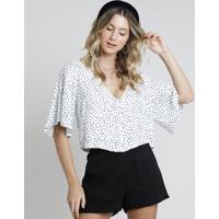 Blusa Feminina Cropped Com Botões Estampada De Poá Manga Curta Decote V Off White