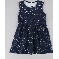Vestido Infantil Estampado De Estrelas Sem Manga Azul Marinho