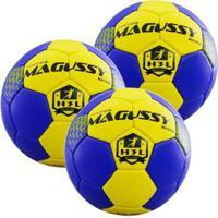 Kit 3X Bolas Magussy Handebol Masculino Matrix H3L - Masculino-Azul+Amarelo