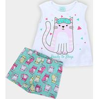 Pijama Infantil Kyly Gatinho Brilha No Escuro Feminino - Feminino-Branco