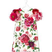Dolce & Gabbana Kids Vestido Floral Com Aplicações Nas Mangas - Branco
