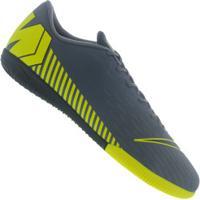 Chuteira Futsal Nike Mercurial Vapor X 12 Academy Ic - Adulto - Cinza Escuro/Amarelo