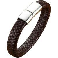 Pulseira Bracelete Em Couro Artestore -Silver Fecho Aço Feminino - Feminino-Preto