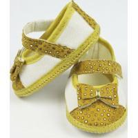 Sapato Bebê Feminino Amarelo Com Dourado-P - Feminino-Dourado