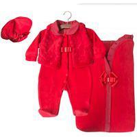 Saída De Maternidade Sônia Enxovais Menina Giulia Com Porta Bebê Vermelha