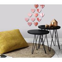 Espelho Decorativo Kit Mini Corações Rose Gold