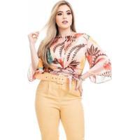 Blusa Clara Arruda Transpassada Feminina - Feminino-Salmão+Amarelo