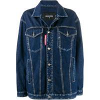 Dsquared2 Jaqueta Jeans Reta - Azul
