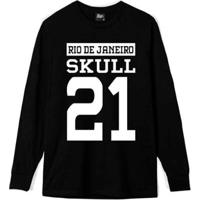 Camiseta Manga Longa Skull 21 Masculina - Masculino-Preto