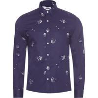 Camisa Masculina Buquê Navy - Azul