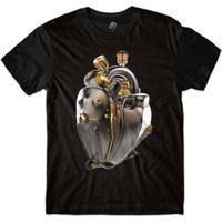 Camiseta Bsc Coração De Máquina Motor Bronze Sublimada Masculina - Masculino