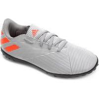 Chuteira Society Infantil Adidas Nemeziz 19.4 Ef8306, Cor: Cinza Claro/Laranja, Tamanho: 35