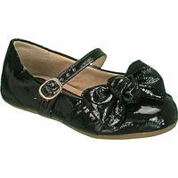 Sapato Boneca Em Couro Com Laã§O- Preta- Kidskimey