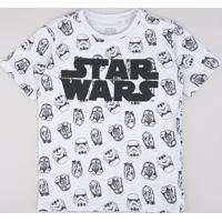 Camiseta Infantil Star Wars Estampada Manga Curta Cinza Mescla Claro