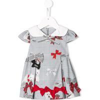 Lapin House Vestido Mini Xadrez Com Laço - Cinza