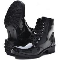 Bota Em Verniz Cr Shoes Salto Baixo Feminino - Feminino-Preto