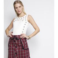Body Com Ilhoses - Branco - Fashion 500Fashion 500